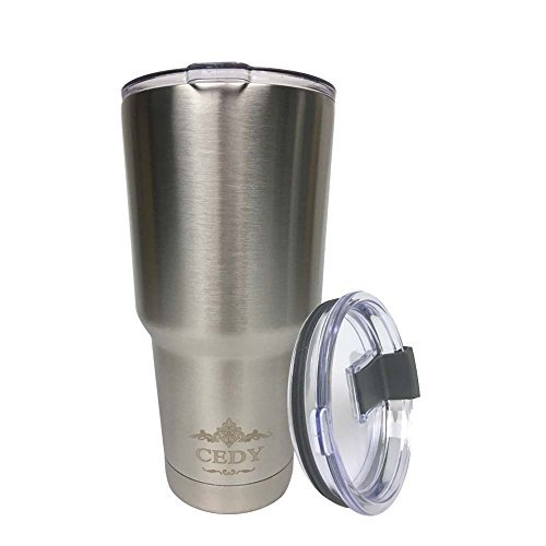 30 oz Stainless Steel Vacuum Insulated Tumbler with Lid, Double-Wall Vacuum Insulation Travel Cup & Coffee Mug No Sweating Keeps Drinks Hot or Cold Multiple Colors (Stainless Steel)