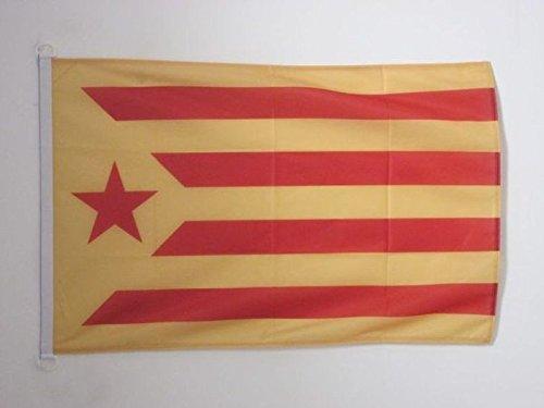 AZ FLAG Bandera de CATALUÑA ESTELADA VERMILLA 90x60cm Uso Exterior - Bandera Catalunya INDEPENDENTISTA GROGA 60 x 90 cm Anillos