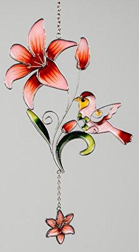 dekojohnson moderne raamdecoratie raamhanger decoratieve glasafbeelding Tiffany Lilie & Vogel Moederdag rood lente/zomer 35 cm