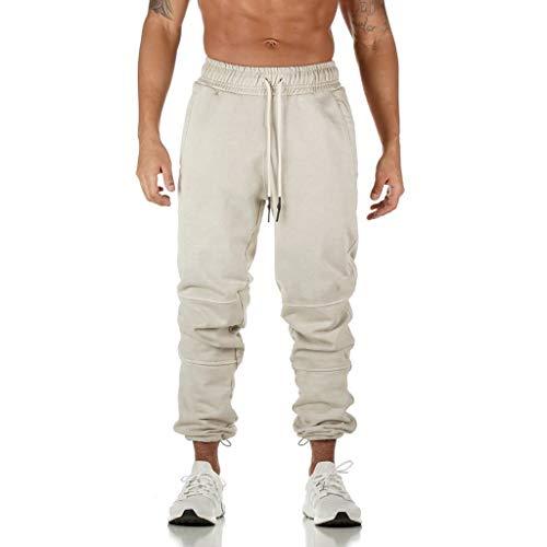 HDUFGJ Herren Hosen Sporthose Trainingshose Baumwolle Jogginghose Freizeithose mit Seitentaschen Jogginganzug Joggers StreetwearXXL(Weiß)