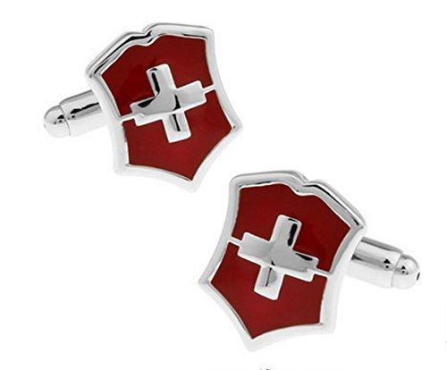 Gudeke Swiss Flag Switzerland Cross French Shirt Cufflinks Schweizer Flagge Schweiz Kreuz Französisch Hemd-Manschettenknöpfe