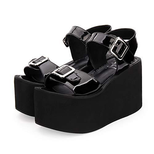 DJDLNK Gothic Lolita Schuhe Super High Heel 10Cm Plattform Muffin Zipper Sandalen