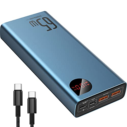 Baseus Power Bank, 65W 20,000mAh Laptop Portable Charger, USB C Fast...