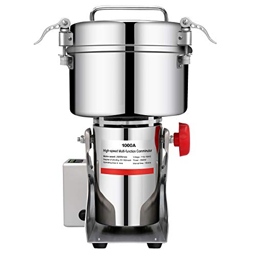 BI-DTOOL 1000g Electric Grain Mill Grinder 304 Stainless Steel Pulverizer Grinding Machine Commercial Corn Mill for Kitchen Herb Spice Coffee with LCD Digital Display