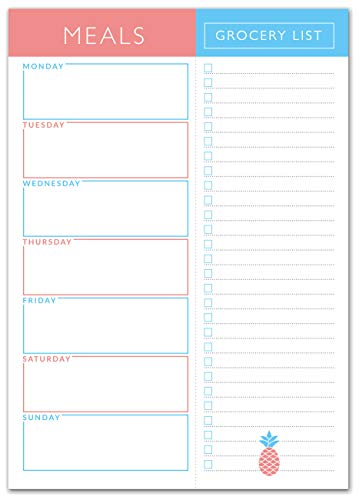 Sweetzer & Orange Meal Planner Pad | 7x10 inch Notepad for Organized Weekly & Daily Planning | Tear-Off Grocery List Checklist for Convenient Shopping | Magnetic Notepads for Refrigerator Door