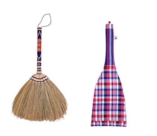 Skennova – 35,6 cm Thai Vintage Staubbürste Grasbesen Holz bestickt gewebte Fäden Handgriff Reed Tree Sweeping Schmutz Staub Haar und Decke Wand Geschenk