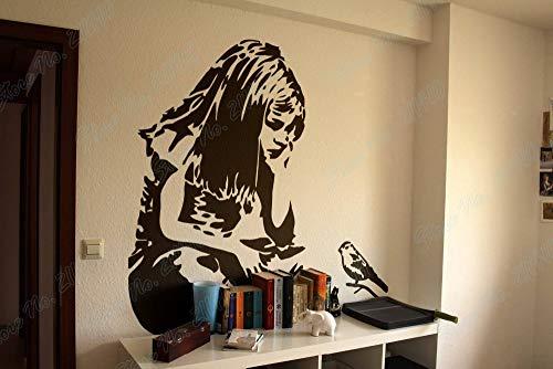 63x67cm tamaño de color personalizable bricolaje niña pájaro pensar pelo largo estilo Banksy sala de estudio dormitorio sala de estar decoración calcomanías para el hogar vinilo extraíble pegatinas d