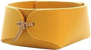 LCM Boîte de Rangement en Feutre de Laine de Finition de Bureau Panier de Stockage Roux (Color : Yellow, Taille : S)