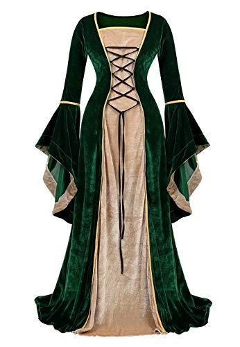 jutrisujo Mittelalter Kleidung Damen samtkleid lang samt Kleid Renaissance viktorianischen kostüm maxikleid Vintage Retro trompetenärmel Grün 2XL