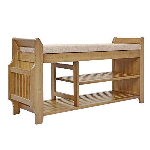 Home Aesthetics Natural Bamboo 2-Tier Shoe Rack Bench Storage, Shoe Organizer with Drawer Magazine Stand Removable Padded Cushion for Entryway Hallway Living Room Bathroom Storage Organizer Shelf