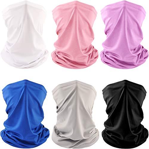 6 PCS Man/Women Outdoor Sun UV Protection Face Mask Neck Gaiter Windproof Scarf Sunscreen Breathable Bandana Balaclava (Solid)