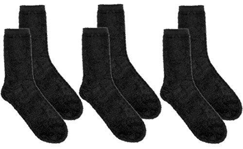 3 Pairs Premium Microfiber Mid-Calf Socks -Velvet Soft Stretch Breathable Sweat Wicking, black, black, black