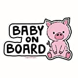Giggles & Wiggles Baby on Board Pig - Vinyl Decal Car Window Sticker - Cute Unique Animal Design