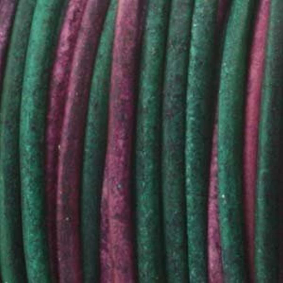 1.5mm Indian Leather Round Beading Jewelry and Craft Cord 25 Yards Gypsy Dyed Sunset