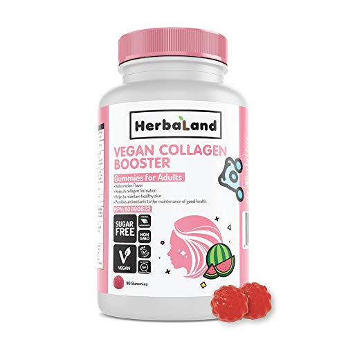 Vegan Collagen Booster Supplement by Herbaland - Plant-Based Sugar-Free Vitamin Gummies for Hair Skin and Nails with L-Lysine Vitamin A, C and Amla Fruit - Watermelon Flavor 90 Gummies