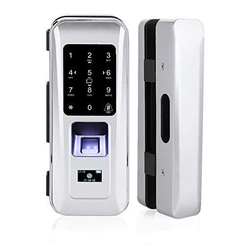 Cerradura de Seguridad Inteligente, Cerradura Electrónica Biométrica de Puerta de Vidrio con 3 Formas de Desbloquear Huella Dactilar Contraseña Tarjeta Electrónica, para Oficina en Casa (Plata)