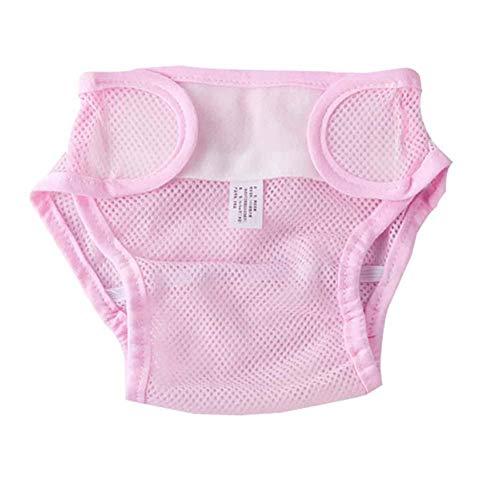 BIGBOBA Babytopf Trainingshose einfarbig Polyester Mesh Trainingsunterwäsche mit atmungsaktiver Kinderwindelhose Aufdruck auf dem Toilettentopf für 0-18 Monate, pink, S