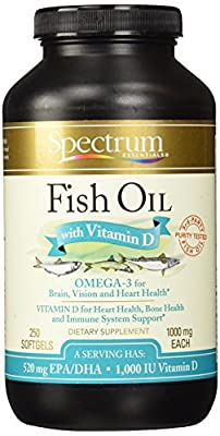 Spectrum Essentials Softgels, Fish Oil with Vitamin D, 1000 mg, 250 Count