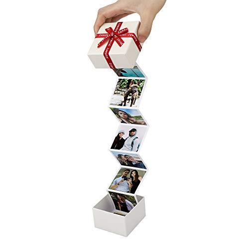 Caja de fotos extraíble personalizada, álbum de fotos personalizado en caja Caja de fichas de memoria sorpresa Regalo de cumpleaños de aniversario para la amante madre amiga