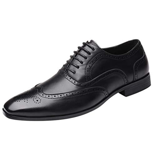 Celucke Budapester Herren Schnürhalbschuhe Lederschuhe Business-Halbschuh, Männer Anzugschuhe Oxford Derby Schuhe Business Schnürschuhe