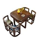 LXJ Mesa de Comedor, Mesa de Comedor y sillas cuadradas rústicas, una Mesa y Cuatro sillas, Mesa de Comedor pequeña de Madera Maciza para el hogar, se Puede Plegar para Ahorrar Espacio