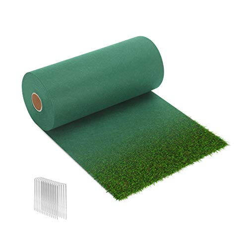 CEED4U 50 Square Feet Grass Seed Mat (Seeds Not Included) with 12 Pcs Garden Staples, Quick Fix Roll Plant Growing Grass Seed Blanket for Garden Backyard Picnic Lawns Dog Patches Shade (1W x 50L Feet)