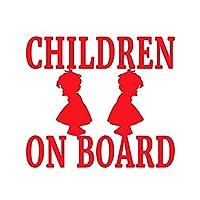 車のステッカーの装飾 12.7cm×11.3cmの子供警告警告安全標識車の車窓のステッカー車のアクセサリーのスタイリング (Color Name : Red)