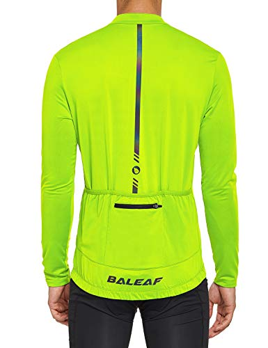 BALEAF Men's Cycling Bike Jersey Long Sleeve with 4 Pockets Bicycle Shirt Reflective Breathable UPF 50+ Fluorescent Yellow L