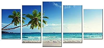 Wieco Art Large Size Sea Beach Theme Modern Giclee Canvas Prints Artwork Stretched and Framed Canvas Wall Art for Home and Office Decorations
