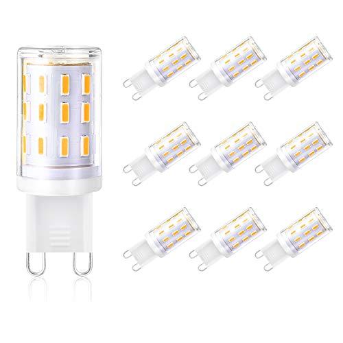 Creyer G9 LED Lampen Kein Flackern/350 lumens/33 X 4014 LED SMD/4W ersetzt 40W Halogenlampen/Warmweiß 2900K/G9 LED Leuchtmittel Birne/AC 220-240V/Nicht Dimmbar/10er Pack