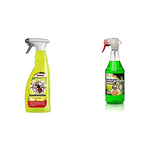 SONAX InsektenStar (750 ml) entfernt schnell und schonend selbst hartnäckige und angetrocknete Insektenverschmutzungen + TUGA Chemie Felgenreiniger Alu-Teufel Spezial, Sprühflasche
