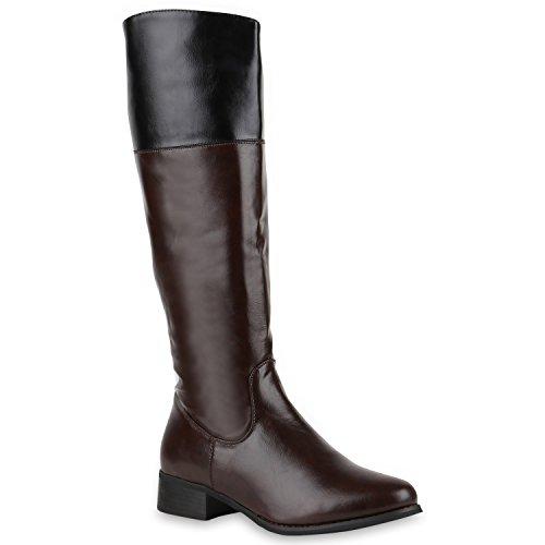 Damen Reiterstiefel Leder-Optik Langschaft Boots Klassisch Schuhe 123747 Braun 37 Flandell