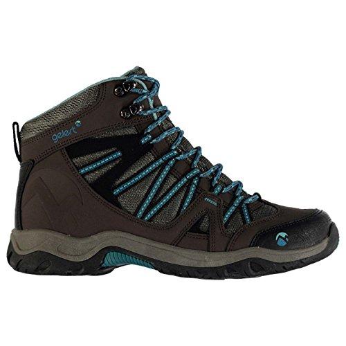 Gelert Damen Ottawa Mid Wanderstiefel Wanderschuhe Trekking Stiefel Outdoor Boots Brown/Teal 6.5 (40)