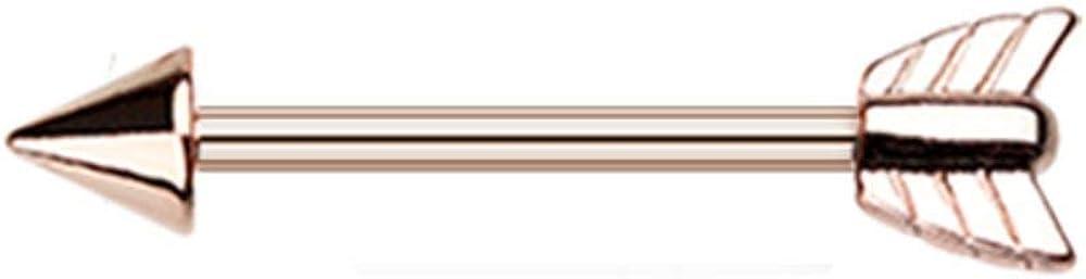 Covet Jewelry Golden Katniss Bow Arrow Nipple Barbell Ring