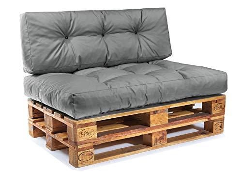 Easysitz Palettenkissen Set Palettensofa Palettenpolster Palettenauflagen Sofa Kissen Polster Auflage Indoor Outdoor Gesteppt für 120 x 80 cm Europaletten (Set 1: Sitzkissen+Rückenkissen - Dunkelgrau)