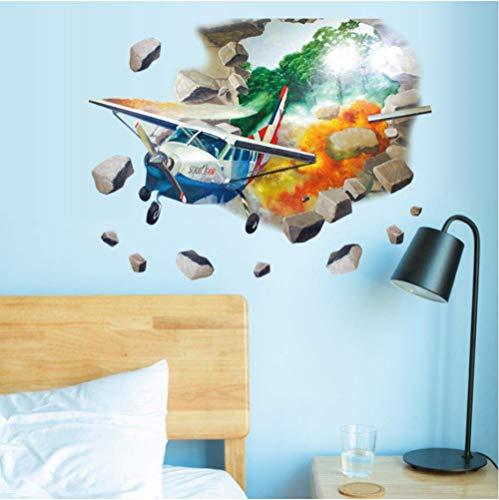 Helicóptero 3D Pegatinas De Pared Para Habitación De Niños Vista Del Agujero Vinilos Decorativos Para Paredes Avión Decoración Del Hogar Decoración De La Sala De Arte 50X70Cm
