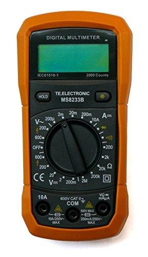 Digital-Multimeter MS8233B 3,5-stellig mit 19 Meßbereichen (5x Gleichspannung, 2x Wechselspannung, 5x Gleichstrom, 5x Widerstand, Diodentest, Akustischer Durchgangsprüfer) mit Data-Hold und zuschaltbarer Hintergrundbeleuchtung