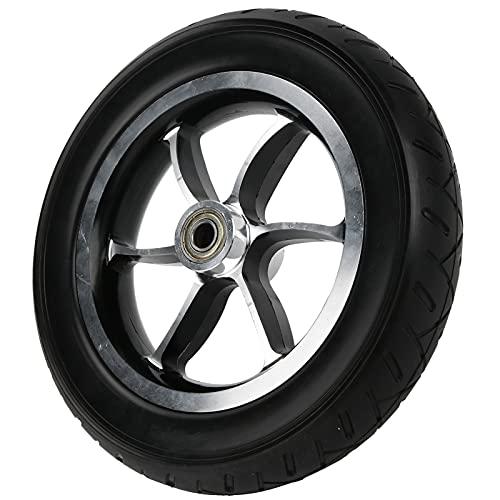 Llantas de rueda sólidas de PU sin reemplazo de llanta delantera de aleación de aluminio inflable de 10 pulgadas para sillas de ruedas negro