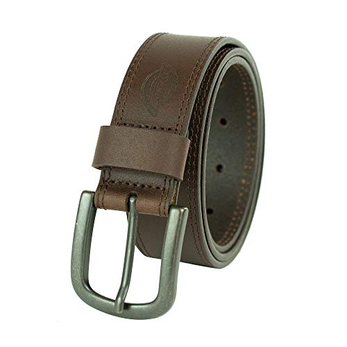 Dickies 100% Leather Jeans Belt with Stitch Design and Prong Buckle 11/2 In., Brown, 42