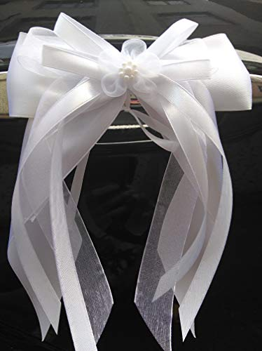 Miya 10 lazos de satén de alta calidad hechos a mano con doble lazo de satén, para decoración de coche, boda, decoración de coche (5 cm blanco)