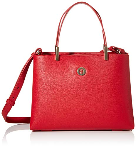 Tommy Hilfiger Damen Th Core Med Satchel Tornistertasche, Rot (Barbados Cherry), 1x1x1 cm