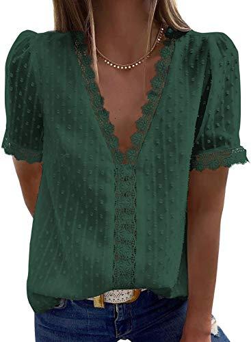 Astylish Womens Chiffon Blouse Swiss Dot Casual Short Sleeve V Neck Pom Pom Shirts Tops Green Medium