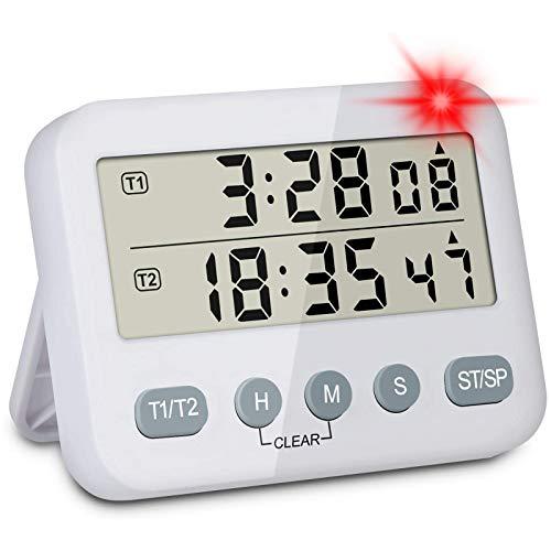 Dual Küchentimer Digitaler Kurzzeitmesser, MECHEER 2-in-1 Kurzzeitwecker 3 Stufen Einstellbar Volumen Magnetisch Küchenuhr Countdown Küchenwecker Stoppuhr Küche Lauter Eieruhr zum Kochen Lernen Sport