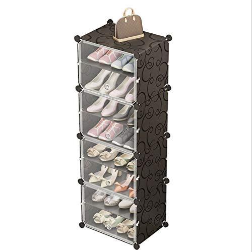 Diaod Multicapa de Zapatos de Rack Simple Ahorro de Espacio Calza los Cargadores Organizador del Armario Bricolaje Montado Módulo de Zapatos Gabinete con Puerta Mueble de casa