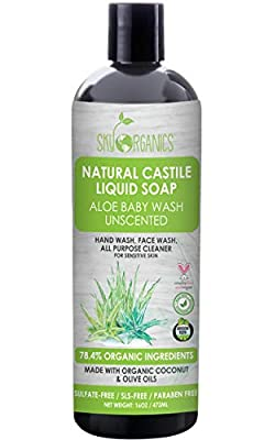 Castile Soap Organic Unscented by Sky Organics (16oz) Plant Based Liquid Soap and All Purpose Wash, Aloe Vera Baby Wash, Vegan & Cruelty-Free, Fragrance-Free Natural Castile Soap Savon de Marseille