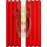YUAZHOQI Cortinas opacas rojas y doradas tradicionales chinas lampion marco de borde redondo, llave griega y papel cortado nube de 132 cm x 213 cm oscurecimiento de bolsillo cortina