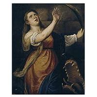 Qwgykr Tizianovecellio《聖マーガレット》キャンバス油絵アートワークポスター画像壁アートキャンバス用リビングルーム装飾ギフト-50X70Cmフレームなし