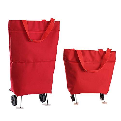Bolsas Plegables con Ruedas Bolsa Plegable con Ruedas Bolsas Plegables Reutilizables para Mujeres Viajes Hogar Cocina Supermercado