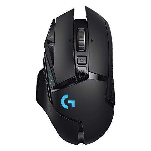 Logitech G502 Lightspeed Wireless Gaming Mouse with HERO 16K Sensor, PowerPlay Compatible, Tunable Weights and Lightsync RGB - Black (Renewed)