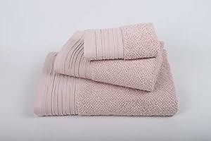 jilda-tex Premium Handtuch Duschtuch Leinenoptik Frottierware Set 100% Baumwolle Verschiedene Größen/Farben (Rosa, Premium Set 6tlg. 2 x (30x50+50x100+70x140))